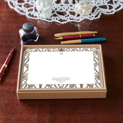 Monogrammed Nouveau Heron Border Notecards