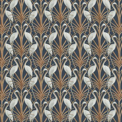 Nouveau Heron Navy - Upholstery Fabric