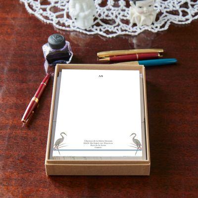Monogrammed Heron Notepaper