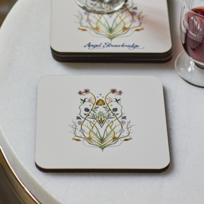 Personalised name light cream coaster set featuring potagerie motif inspired by Escape to the Chateau design