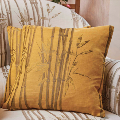 Bamboo Ochre Cushion (Feather Filled)