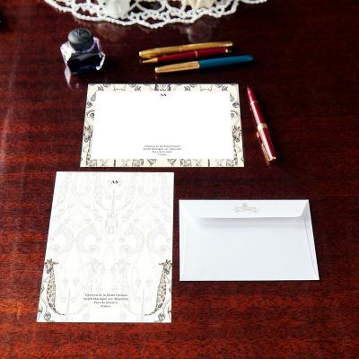 Monogrammed Animaux Border Notecard & Notepaper Set
