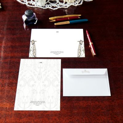 Monogrammed Animaux Notecard & Notepaper Set