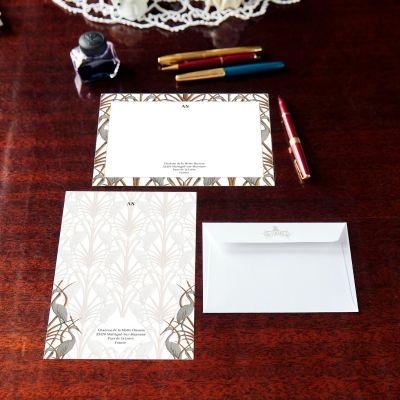 Monogrammed Nouveau Heron Border Notecard & Notepaper Set