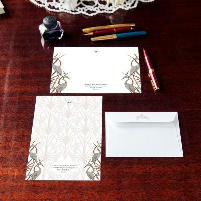 Monogrammed Nouveau Heron Notecard & Notepaper Set