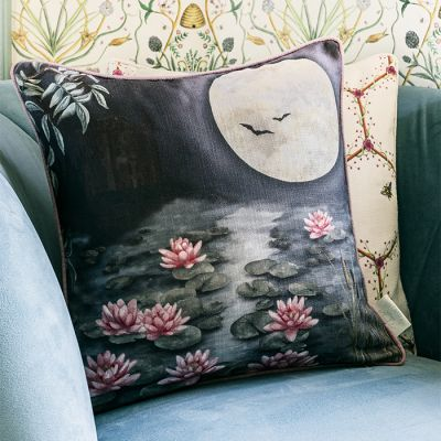 Moonlit Lily Garden Cushion