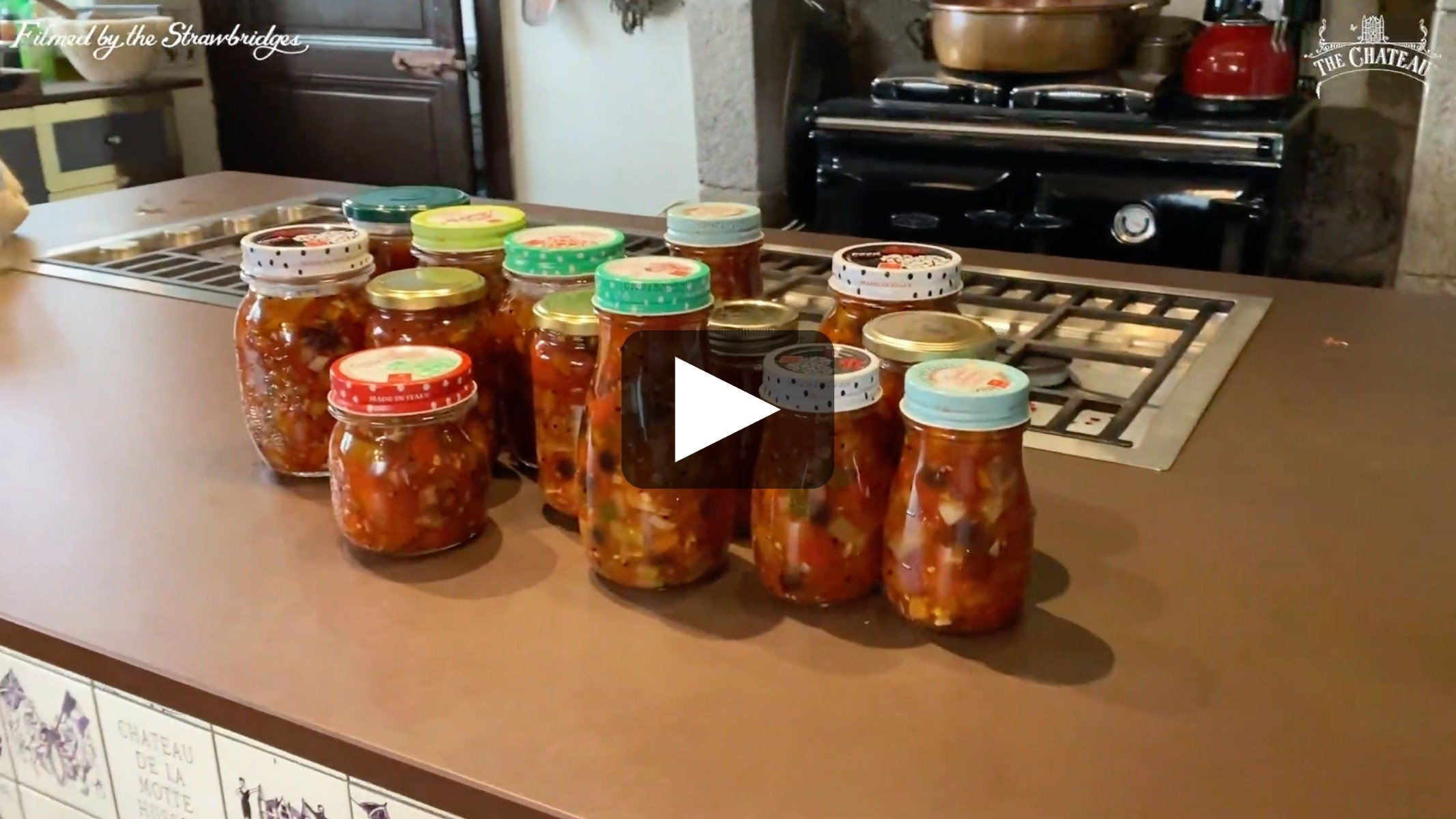 Video frame of jars of chutney, link to full video