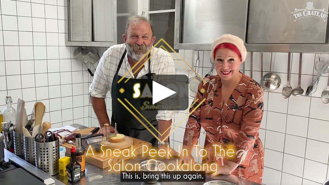 Video frame of Dick & Angel cooking a souffle.