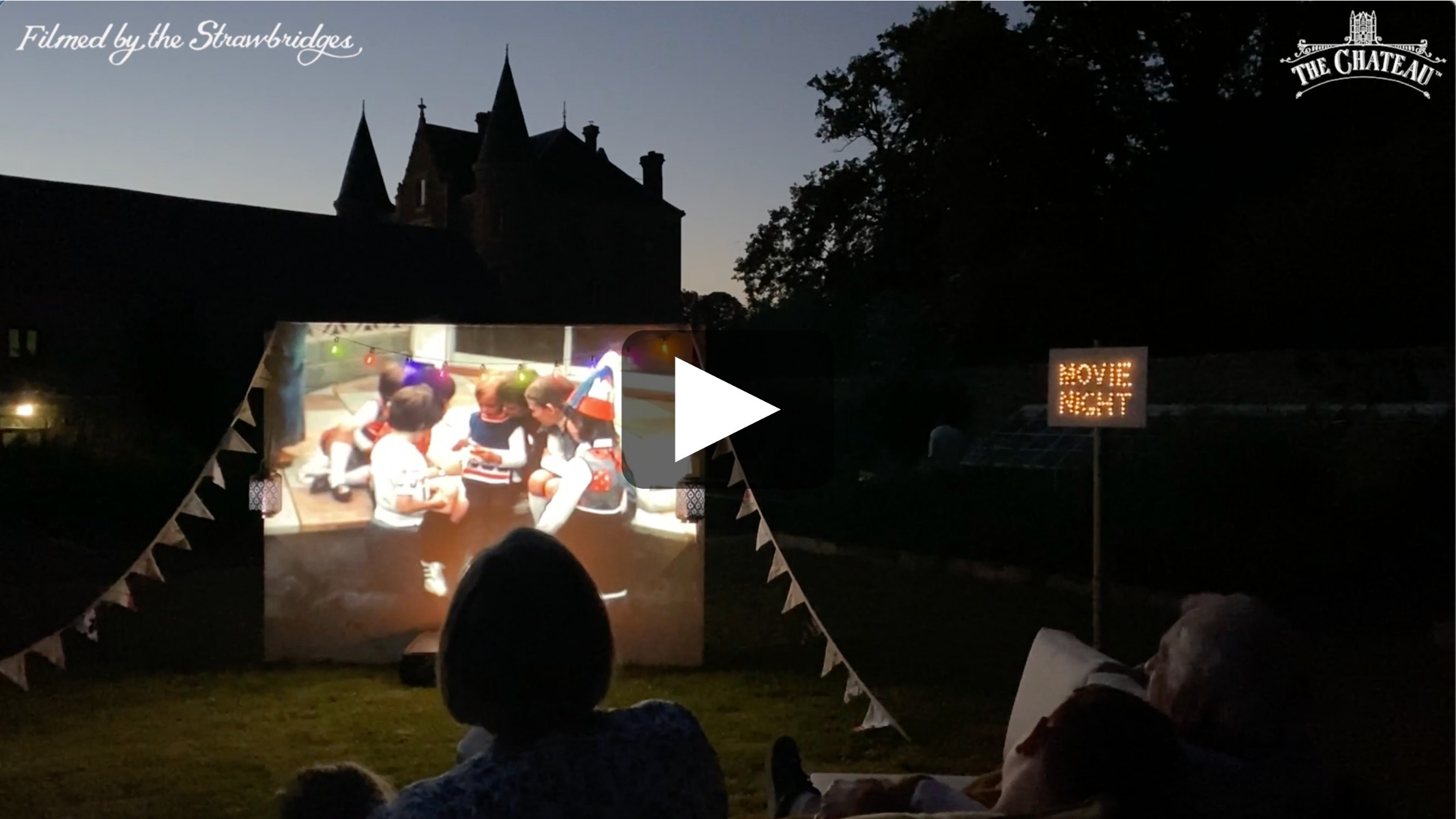 Video frame of a homemade cinema night at The Chateau